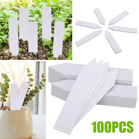 TSV 300/200/100Pcs White 4 Inch Tree Tags Gardening Wrap Sign Waterproof Around Plastic Plant Nursery Garden Markers Labels Planting Stakes Tags with Writing Surface