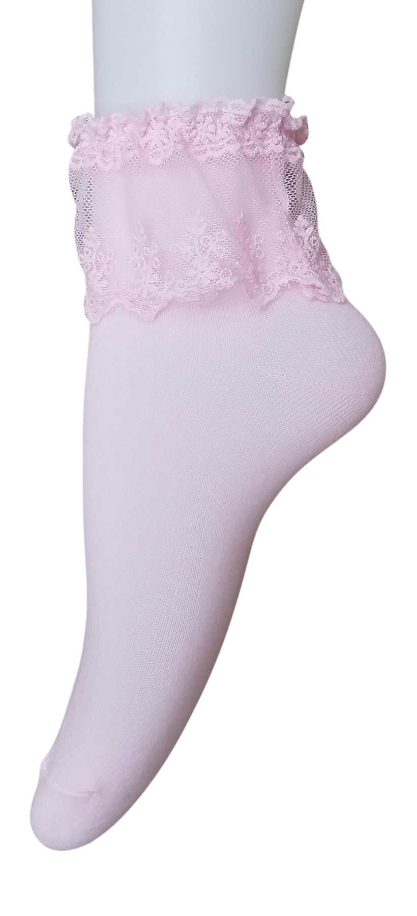 AM Landen Super Cute Pink Princess Lace Ruffle Frilly Ankle Socks