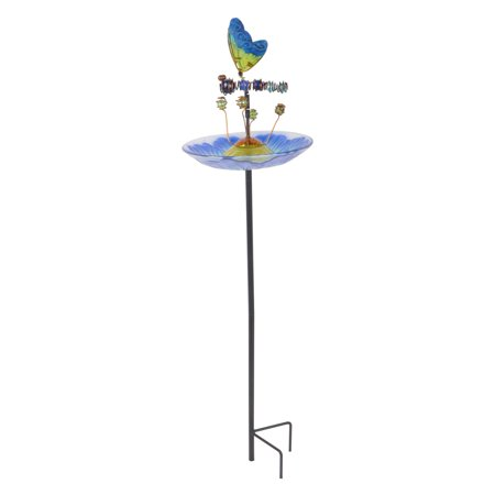 Peaktop - Outdoor 8-Inch Butterfly Fusion Glass Bird Feeder