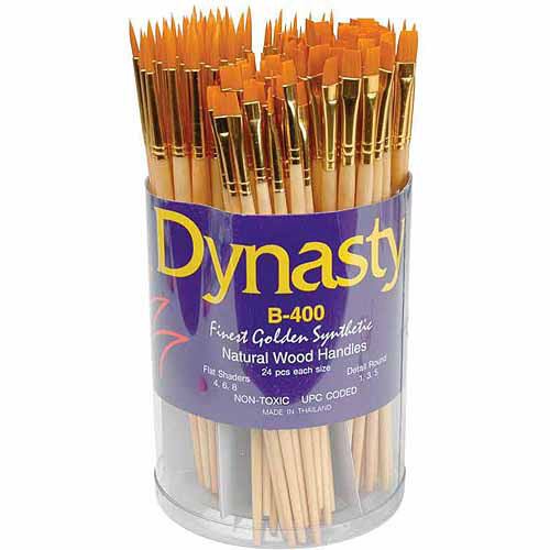 Dynasty B-400 Golden Taklon Brush in Cylinder, Assorted Flat and Round Sizes, Set of 144