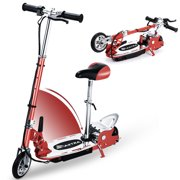 Maxtra E120 Adjustable Handlebar Height and Seat Folding Electric Scooter for Kids,177lbs Max Weight Capacity Motorized Bike with Removable Seat - Red
