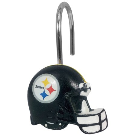 NFL Pittsburgh Steelers Shower Hooks, 12 Count (Pittsburgh Steelers Ring)