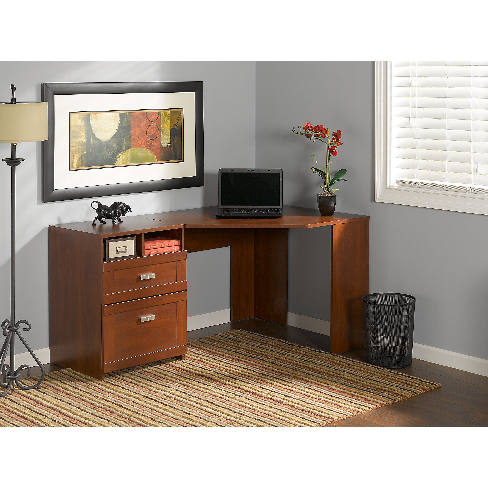 Bush Furniture Wheaton Reversible Corner Desk With File Drawers Multiple Colors Com