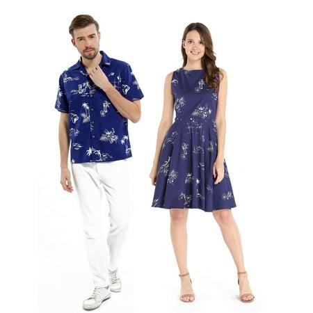 90edc346 Hawaii Hangover - Couple Matching Hawaiian Luau Cruise Outfit Shirt Vintage  Dress Classic Navy Men S Women M - Walmart.com