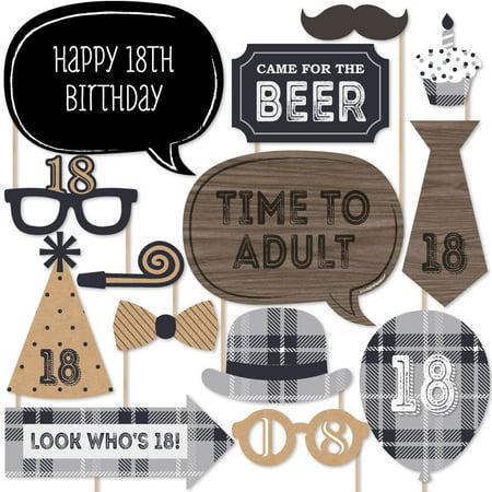 18th Birthday Photo - 18th Milestone Birthday - Photo Booth Props Kit - 20 Count