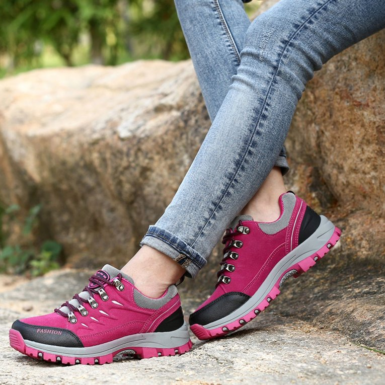 Click here to buy Outdoor Leather Scrub Waterproof Mountaineering Shoes Women Hiking Boots.