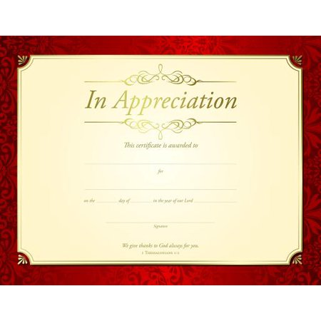 Teachings Foil (Certificate-Appreciation (1 Thessalonians 1:2) (Gold Foil Embossed Premium Stock) (Pack Of)