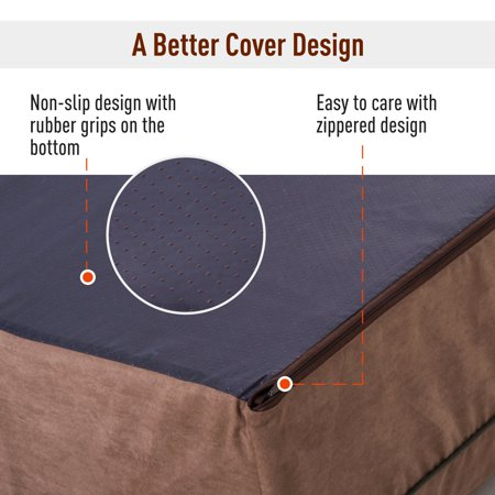 """48""""x30"""" Orthopedic Dog Bed Memory Foam with Pillow Brown - image 2 of 7"""