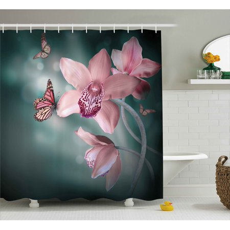 Floral Shower Curtain, Orchid Flower with Butterfly Soft Fresh Spring Nature Theme Art Photo, Fabric Bathroom Set with Hooks, Baby Pink and Jade Green, by Ambesonne](Butterfly Bathroom)