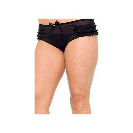 Women's Plus Size Mesh Ruffle Tanga With Satin Bow Accent, Black,
