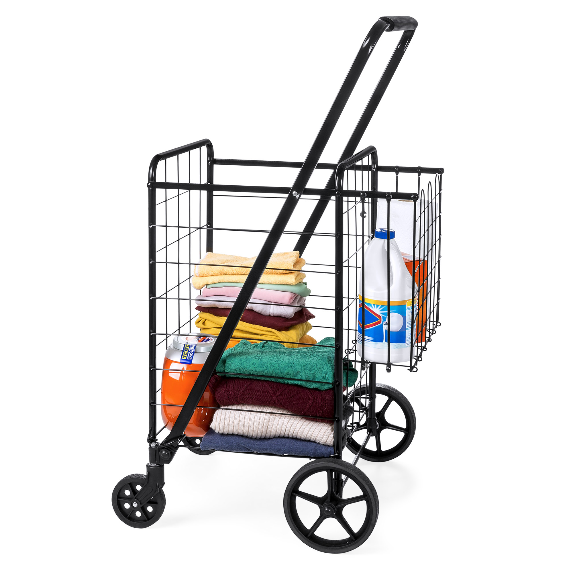 Groceries Laundry w//Bonus Basket Best Choice Products 24.5x21.5in Portable Folding Multipurpose Steel Storage Utility Cart Dolly for Shopping Swivel Double Front Wheels Black