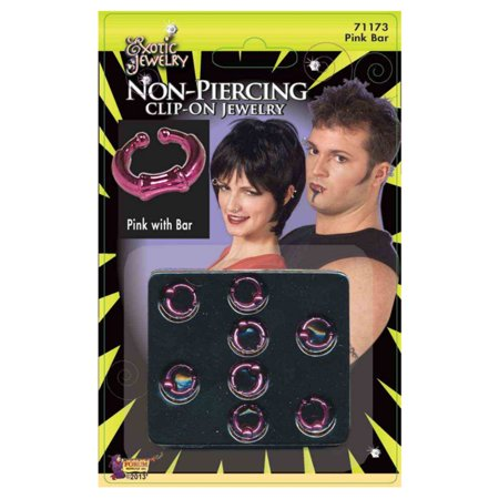 Pack Of 8 Fake Pink Clip On Costume Earring Lip Ring Body Bar Hoop