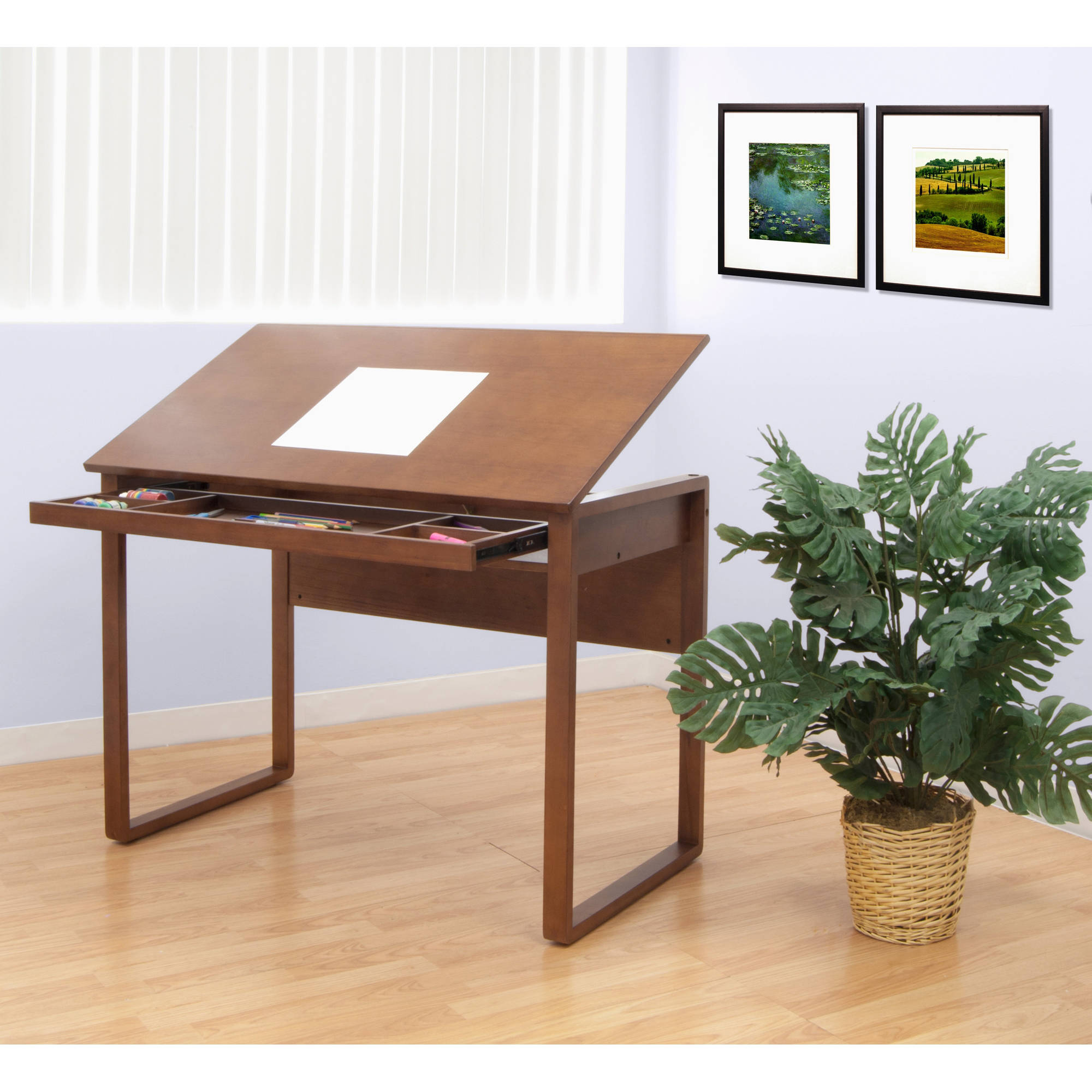 studio designs ponderosa wood tilting top tablesonoma brown walmartcom - Drawing Desk