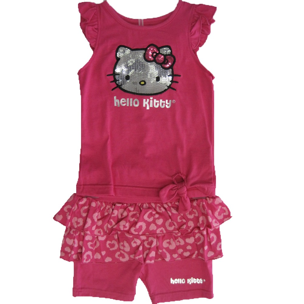 Hello Kitty Little Girls Fuchsia Flutter Sleeve Ruffle Sequin 2 Pc Shorts Set 4-6X
