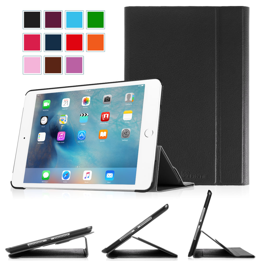 Fintie iPad mini 4 2015 Smart Book Case Stand Cover Supports 3 Viewing Angles with Auto Sleep/Wake Feature, Black