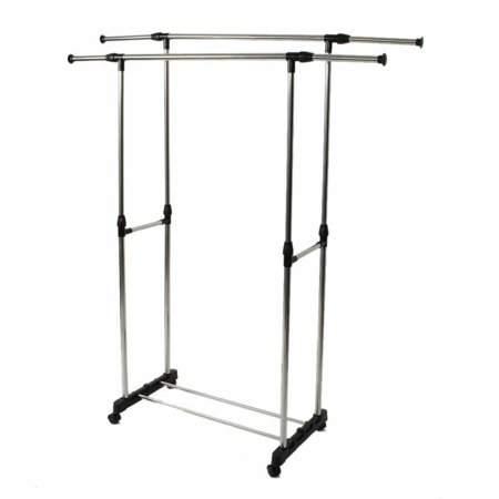 Hanging Clothing Garment Rack on Wheels Portable Clothes Storage Rack with 1 Tiers Shelves Extendable Rod Laundry Drying Rack ()