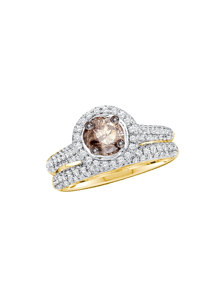 14k Yellow Gold Cognac-brown Round Diamond Solitaire Bridal Wedding Engagement Ring Set 1 & .25 Ctw size- 6.5 by