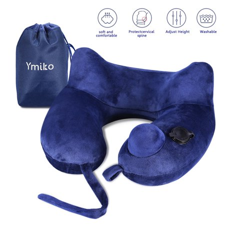 Yosoo Inflatable Travel Pillow for Airplanes - Best Travel Neck Pillows,with Adjustable Firmness,Packsack,Luggage Clip,Washable Cover - Luxury U Shaped Kneck Pillow & Airplane Travel