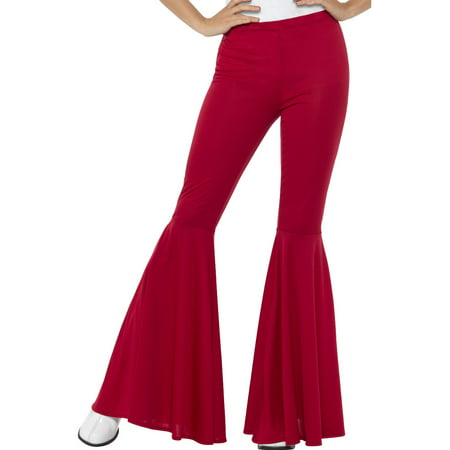 Adult's Womens Red 70s Flared Groovy Disco Pants Costume - Red Costumes For Women