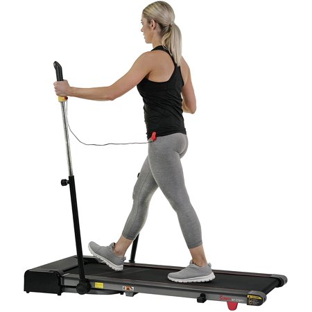 Sunny Health & Fitness Slim Folding Treadmill Trekpad with Arm Exercisers - SF-T7971, Black