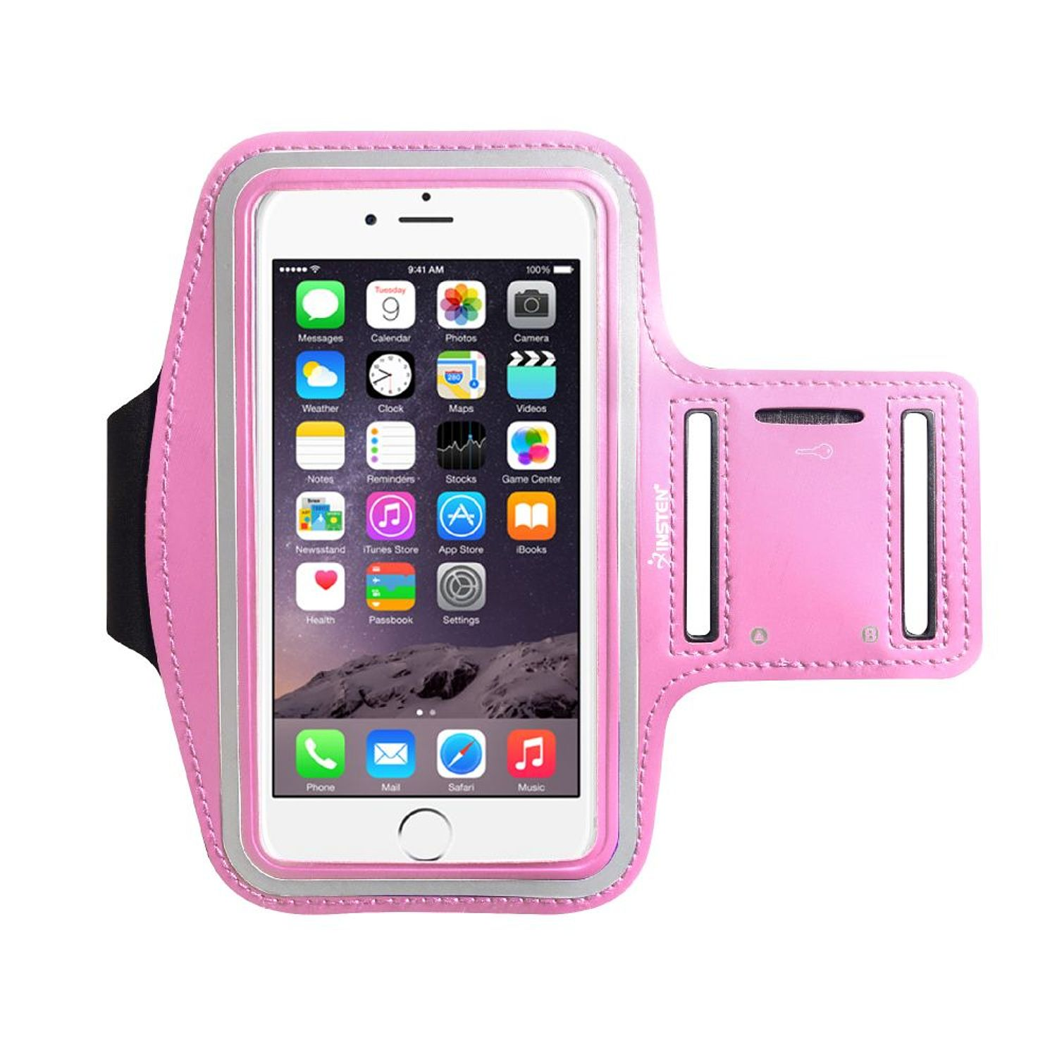 "Insten Pink Sports Workout Running Gym Armband Case For Apple iPhone 8 Plus 7 Plus X 6 Plus 6S Plus 5.5"" / Samsung Galaxy Note 8 7 5 4 3 S7 Edge S8 S9 S+ (with key Holder Storage slot)"