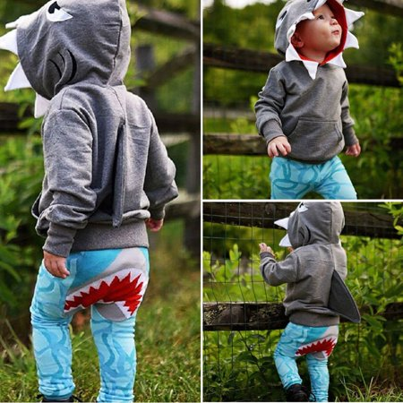Casual Toddler Kids Boys Shark Hooded Tops Hoodie Pocket Jacket Coat Outerwear