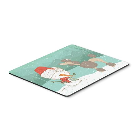 Chocolate Poodle Snowman Christmas Mouse Pad, Hot Pad or Trivet CK2065MP