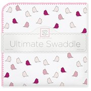 swaddledesigns ultimate winter swaddle, x-large receiving blanket, made in usa, premium cotton flannel, bright pink jewel tone little chickies (mom's choice award winner)