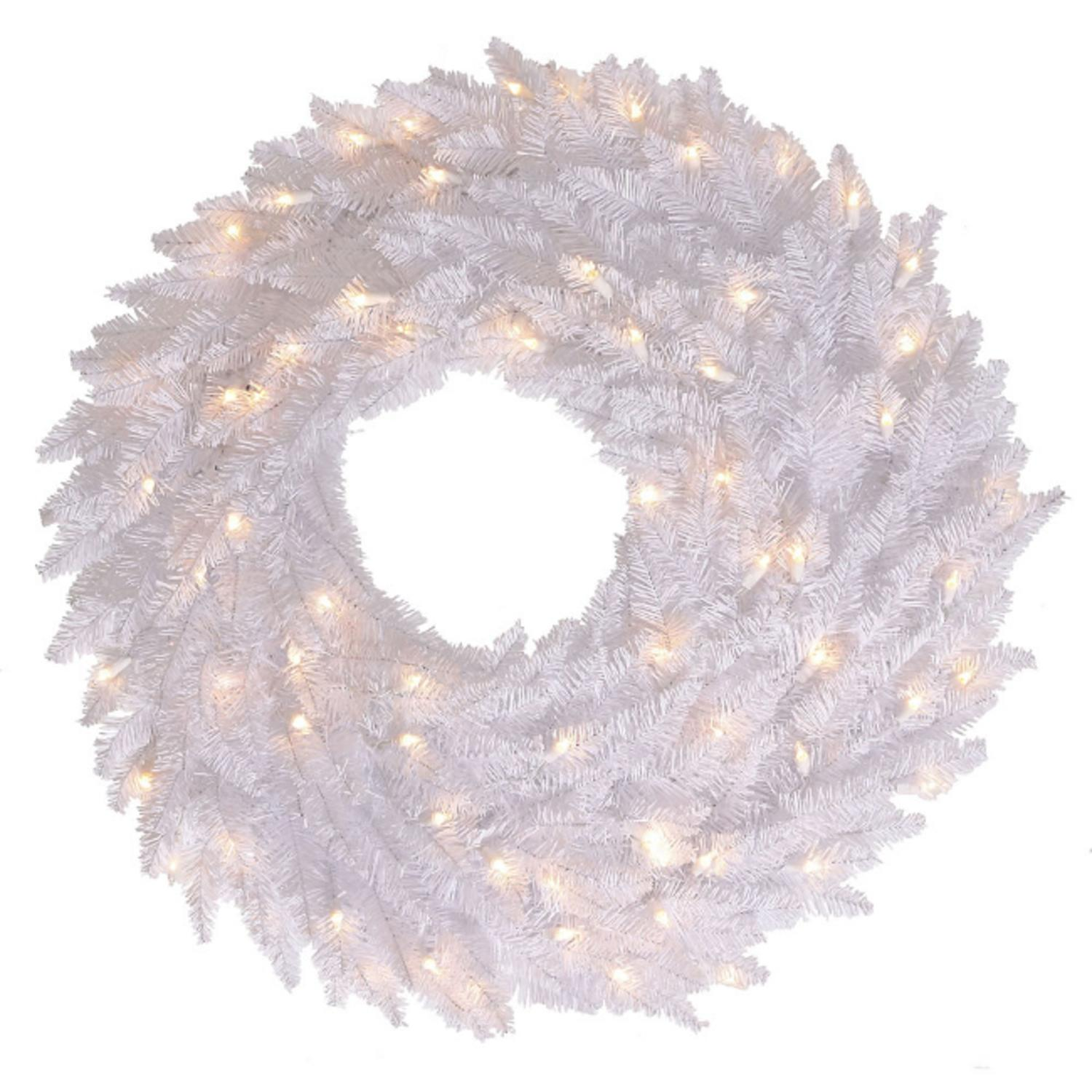 "24"" Pre-Lit Winter White Fir Artificial Christmas Wreath - Clear Lights"