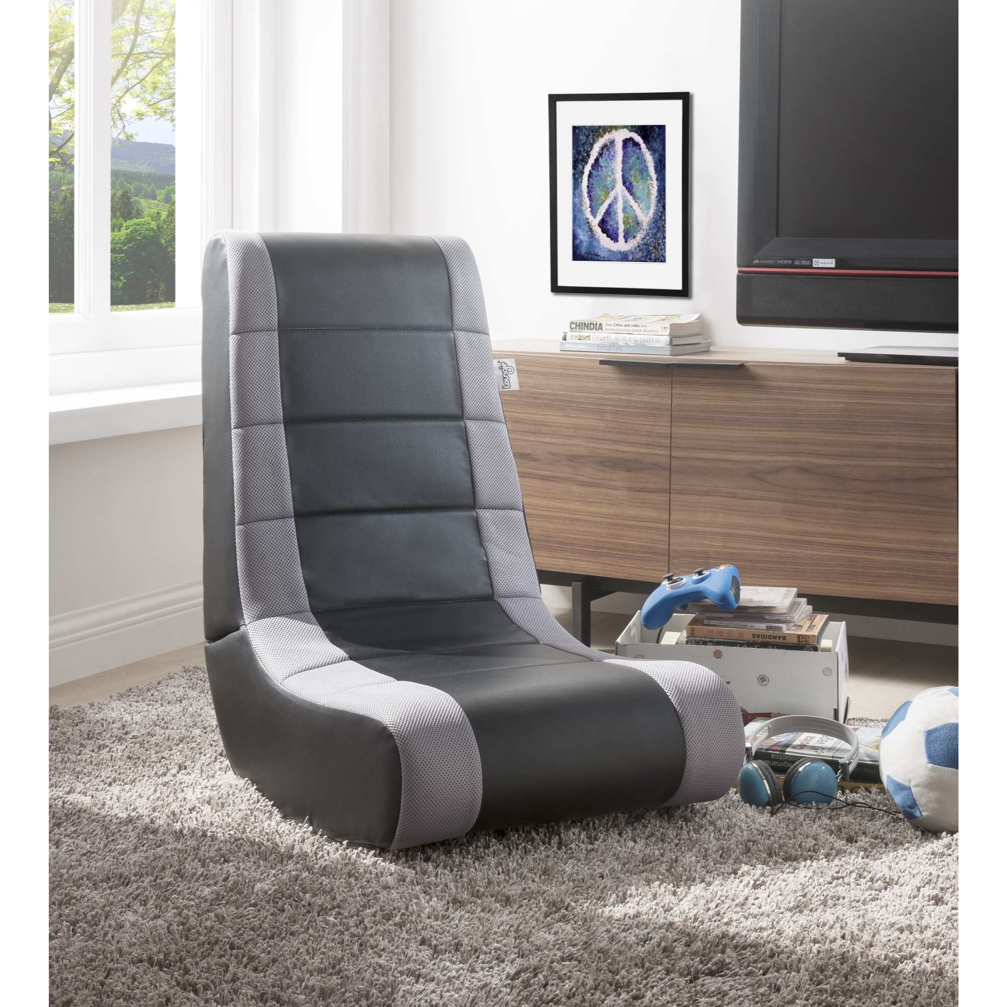 Loungie RockMe PU Leather Gaming Chair - Black & Silver | Foldable | Ergonomic | Kids, Teens, Adults