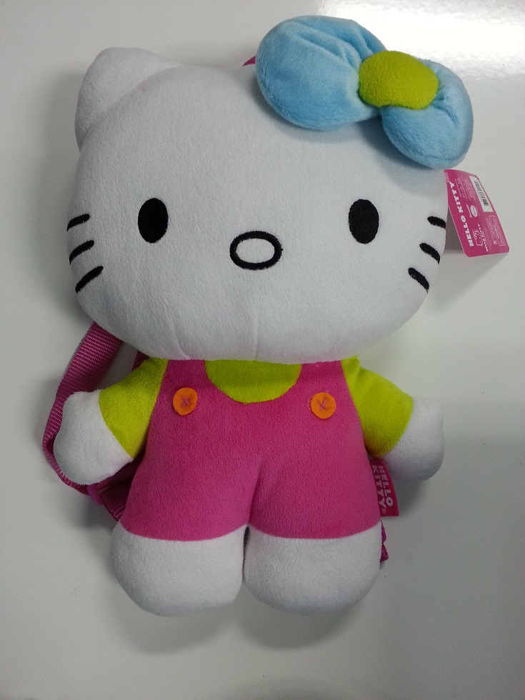 Plush Backpack Hello Kitty Green & Pink Soft Doll Toys New 694194 by