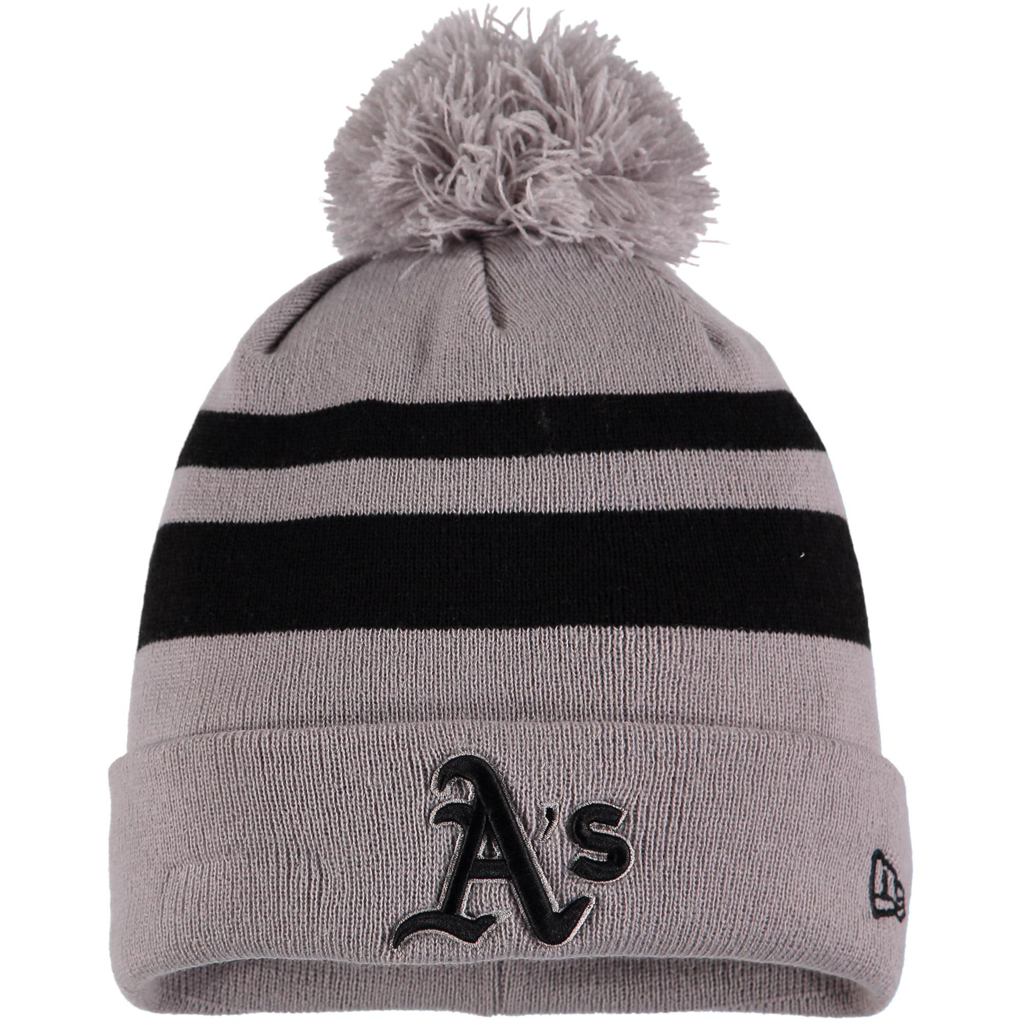 Oakland Athletics New Era Rebound Cuffed Knit Hat with Pom - Gray/Black - OSFA