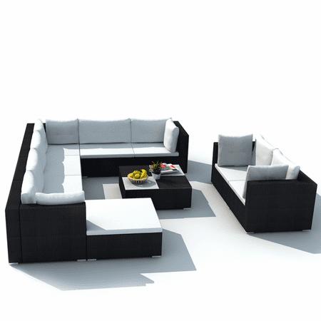 Vidaxl 32 Piece Garden Sofa Set Black Poly Rattan