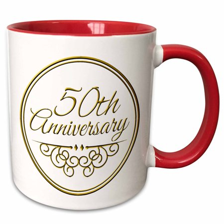 3dRose 50th Anniversary gift - gold text for celebrating wedding anniversaries - 50 years married together - Two Tone Red Mug,