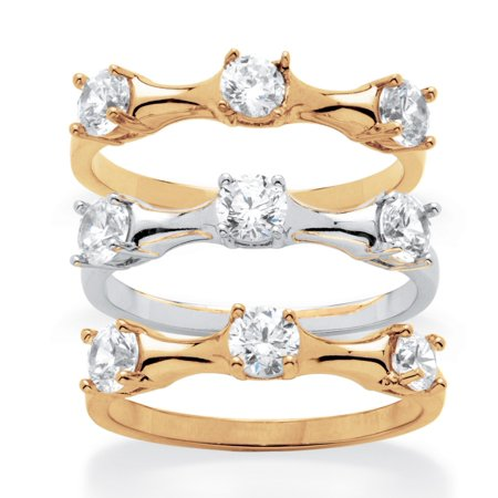 Bamboo Womens Ring (2.25 TCW Round Cubic Zirconia Three-Piece Bamboo Ring Set in 14k Gold-Plated and)
