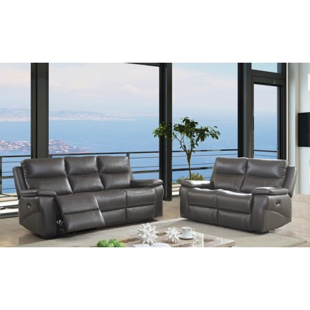 Furniture of America Michael Contemporary Leather Power Recliner Sofa and  Love Seat Set