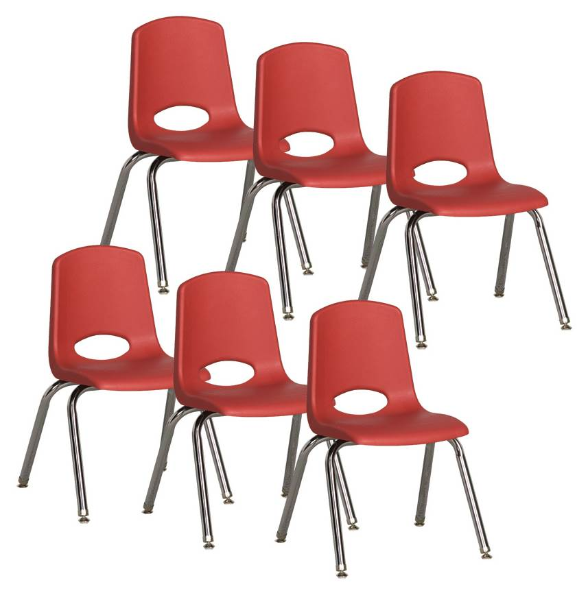 19 in. Stack Chair with Steel Legs in Red - Set of 6