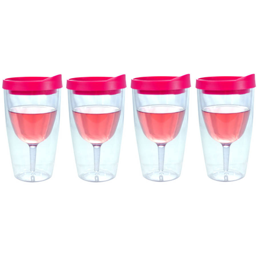 Southern Homewares Pink Insulated Wine Tumbler, Double Wall Acrylic, 10oz, Set of 4
