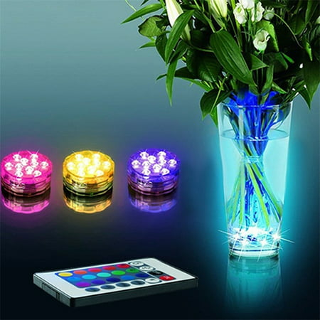 iMeshbean Submersible Lights RGB LED Lights w/Remote Multi-color Waterproof Floral Decoration for Aquarium Vase Base Party Wedding Halloween Christmas Holiday Lighting