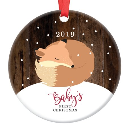 Fox Baby's First Christmas Ornament 2019, Baby Fox 1st Christmas Porcelain Ornament, Woodland Animal 3