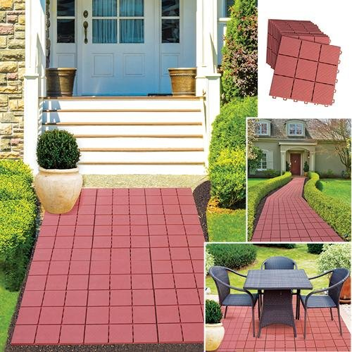 """Etna Products 12 Piece Patio Walkway Pavers 12"""" X 12"""" Set"""