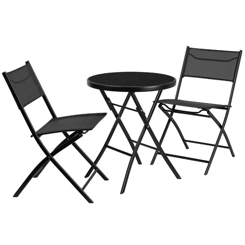 Flash Furniture 23.75'' Round Tempered Glass Metal Outdoor Table with 2 Textilene Fabric Folding Chairs by Flash Furniture