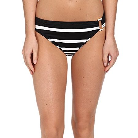 Button Front Hipster (LAUREN By Ralph Lauren Kaylee Stripe Ring Front Hipster (Black,)