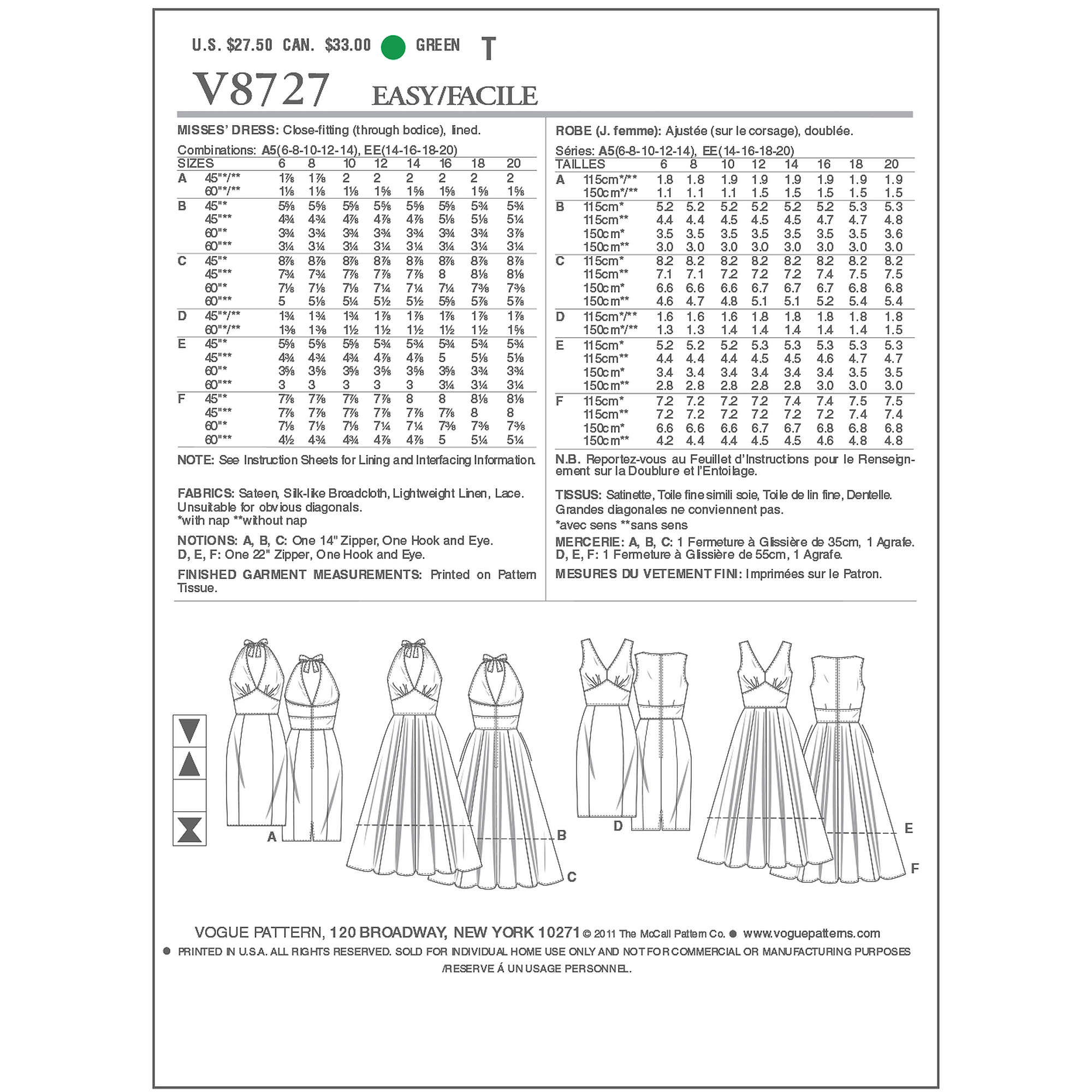 Vogue Pattern Misses' Dress, EE (14, 16, 18, 20)