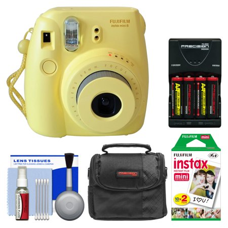 Fujifilm Instax Mini 8 Instant Film Camera (Yellow) with 20 Instant Film + Case + (4) Batteries & Charger + Kit