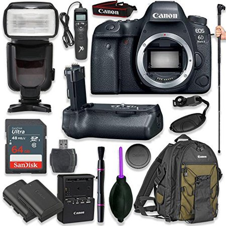 Canon EOS 6D Mark II Digital SLR Camera Body - Wi-Fi Enabled with Pro Camera Battery Grip, Professional TTL Flash, Deluxe Backpack 200EG, Universal Timer Remote Control, Spare LP-E6 Battery (Camera Control Pro Review)
