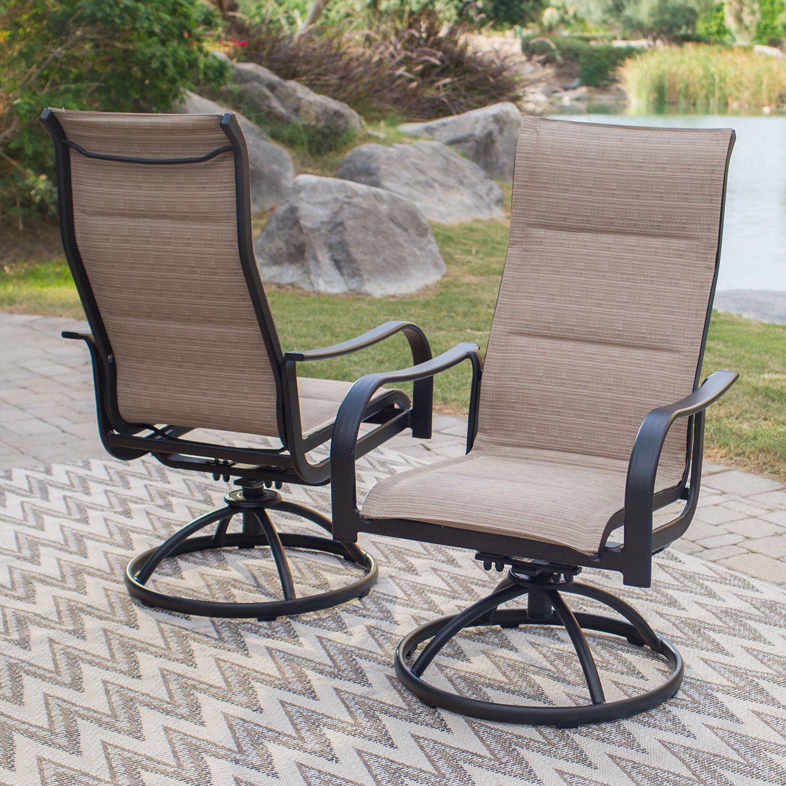 Coral Coast Wimberley Padded Sling Swivel/Rocker Dining Chairs - Set of 2 - Walmart.com & Coral Coast Wimberley Padded Sling Swivel/Rocker Dining Chairs - Set ...