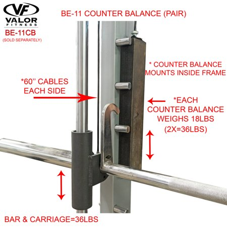 Valor Fitness BE-11CB Counter Balance Set for Smith Machine BE-11 (Smith Machine Accessories)