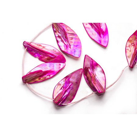Hot Pink Mother-Of-Pearl Top Drilled Leaf Shell Beads (Hot Pink Pearl)