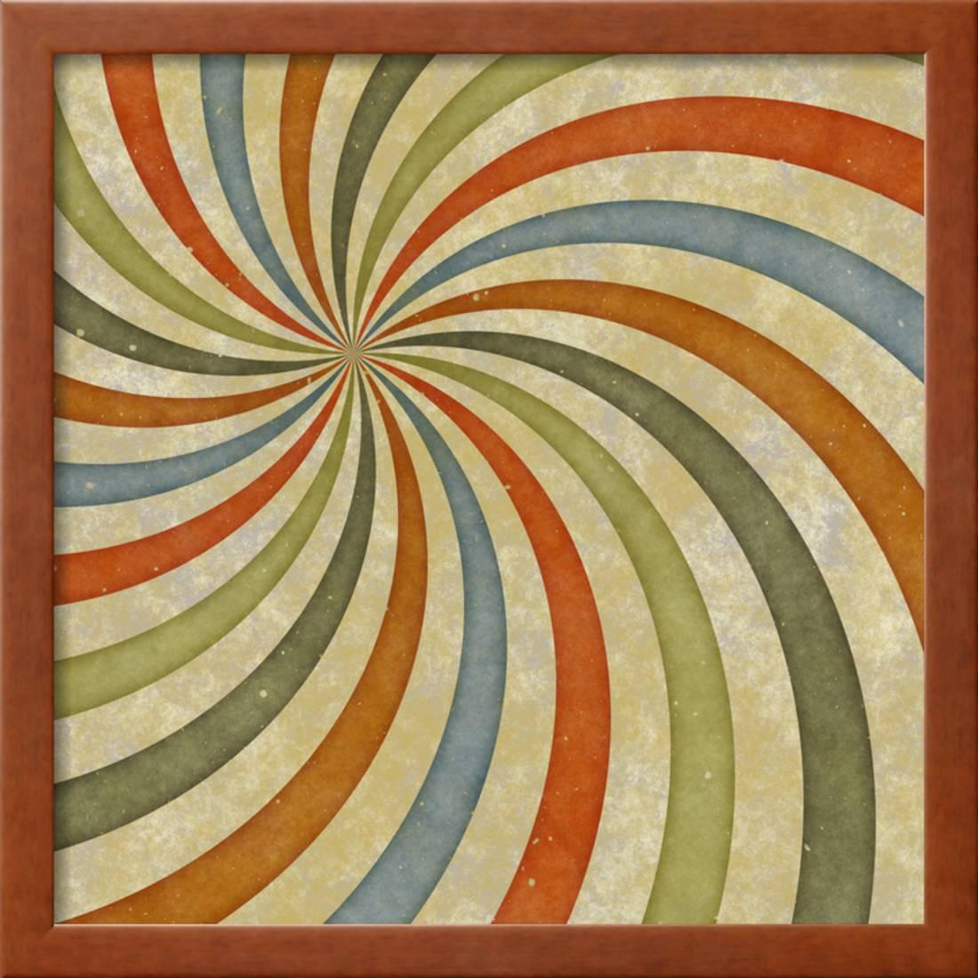 Sixties or Early Seventies Retro Grungy Sunburst Swirl Framed Print ...